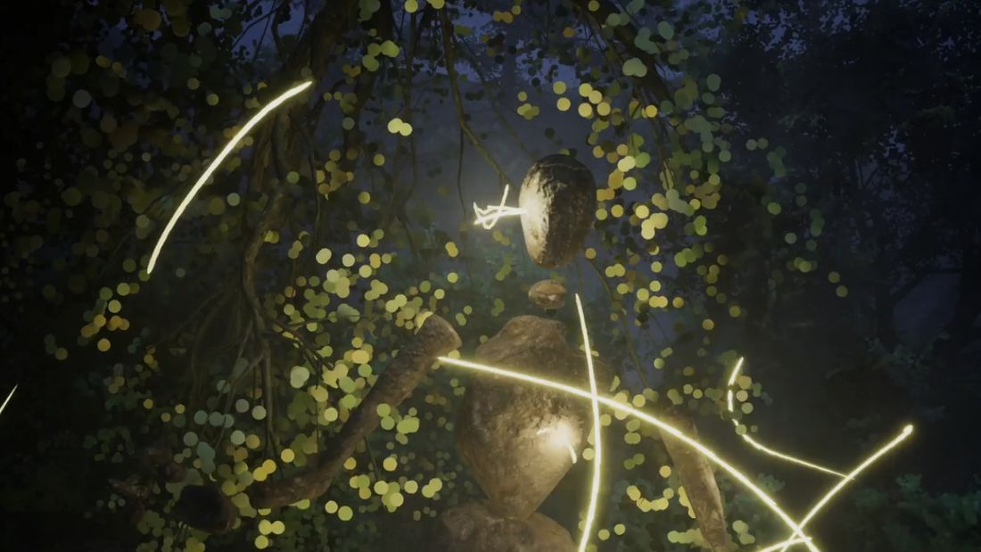 A digital humanoid figure made from stones is surrounded by fireflies in a forest