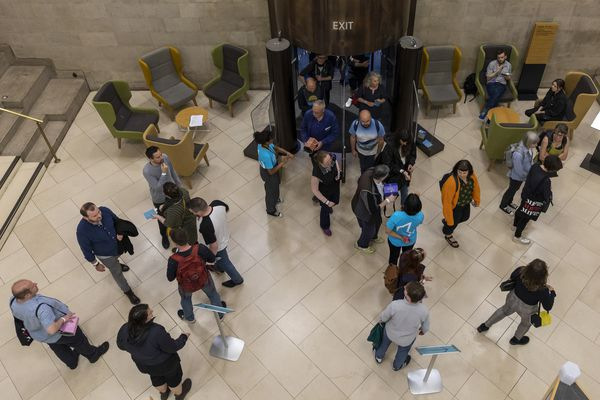Ariel shot of participants in Manchester Central Library